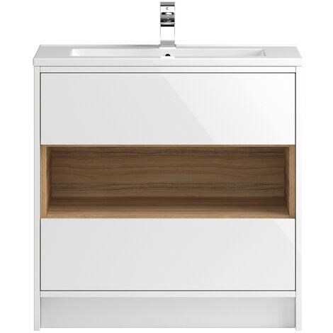Vasari Camden White Gloss Floorstanding Cloakroom Vanity Unit Deep Basin 800mm