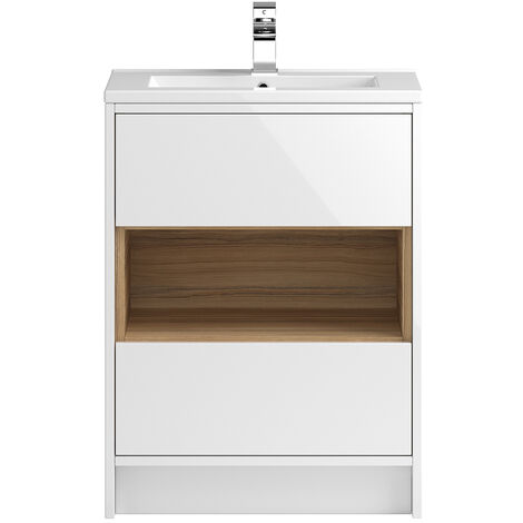 Vasari Camden White Gloss Floorstanding Cloakroom Vanity Unit Slim Basin 600mm