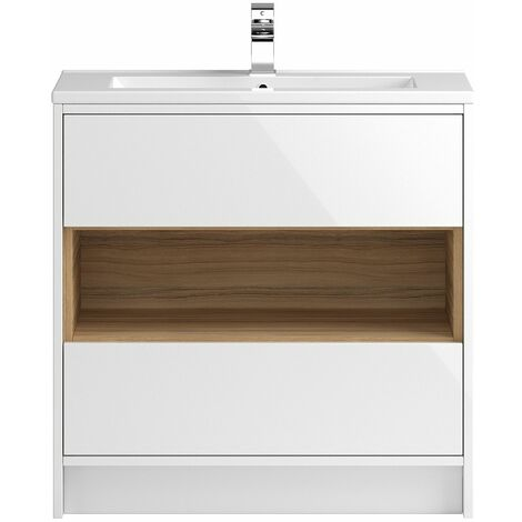 Vasari Camden White Gloss Floorstanding Cloakroom Vanity Unit Slim Basin 800mm