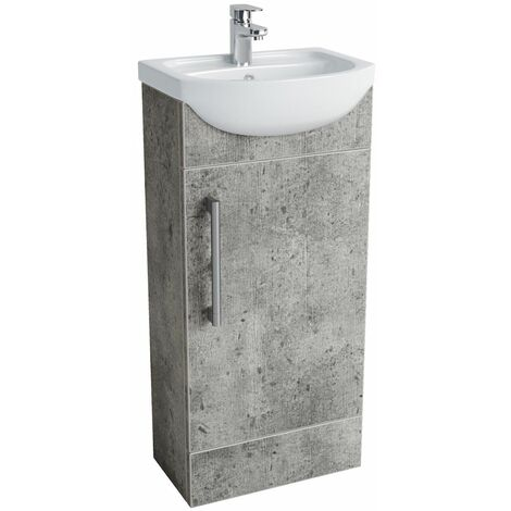 Vasari Cloakroom Bathroom Freestanding Vanity Unit Basin Sink 400mm Concrete