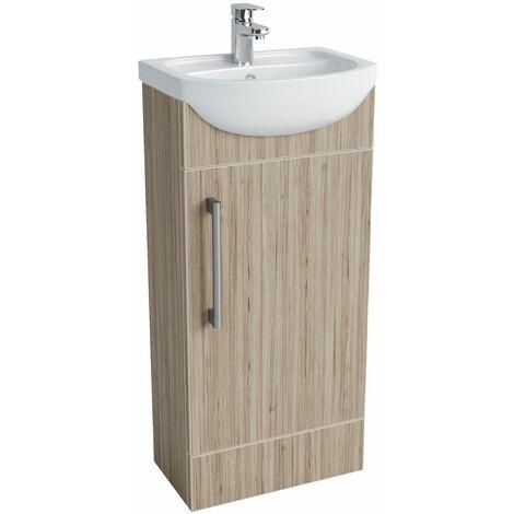 Vasari Cloakroom Bathroom Freestanding Vanity Unit Basin Sink 400mm Light Wood