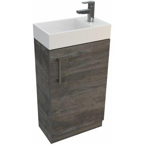 Vasari Cloakroom Bathroom Freestanding Vanity Unit Basin Sink 450mm Driftwood