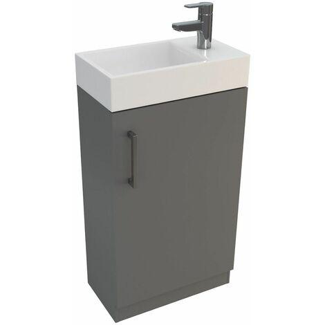 Vasari Cloakroom Bathroom Freestanding Vanity Unit Basin Sink 450mm Gloss Grey