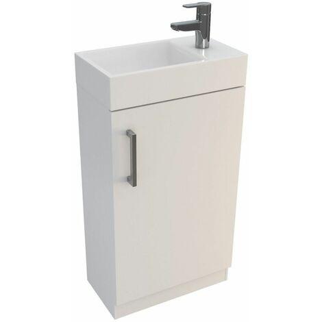 Vasari Cloakroom Bathroom Freestanding Vanity Unit Basin Sink 450mm Gloss White
