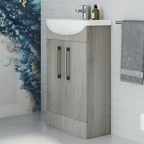 Vasari Cloakroom Bathroom Freestanding Vanity Unit Basin Sink 500mm Light Wood