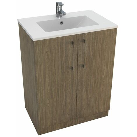 Vasari Cloakroom Bathroom Freestanding Vanity Unit Basin Sink 600mm Dark Wood