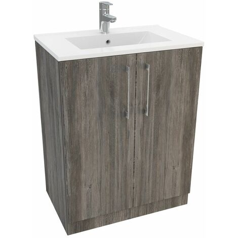 Vasari Cloakroom Bathroom Freestanding Vanity Unit Basin Sink 600mm Driftwood