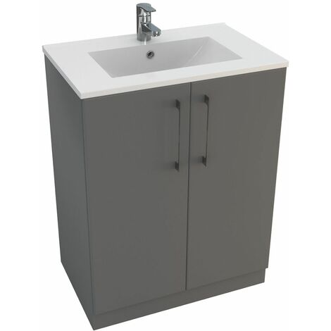 Vasari Cloakroom Bathroom Freestanding Vanity Unit Basin Sink 600mm Gloss Grey
