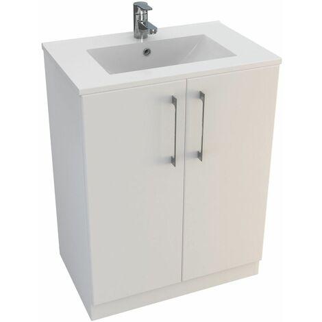 Vasari Cloakroom Bathroom Freestanding Vanity Unit Basin Sink 600mm Gloss White
