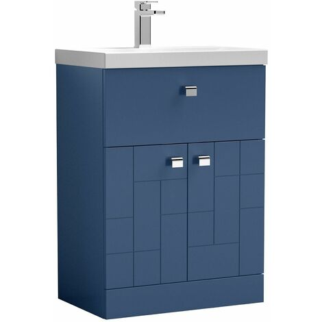 Vasari Cubix Blue 600mm Floorstanding Door Drawer Vanity Unit Thin Edge Basin