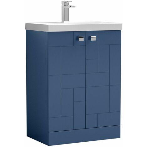Vasari Cubix Blue 600mm Floorstanding Vanity Unit Thin Edge Basin Sink Bathroom