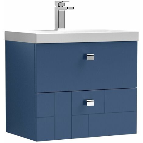Vasari Cubix Blue 600mm Wall Hung Vanity Unit Thin Edge Basin Sink Bathroom