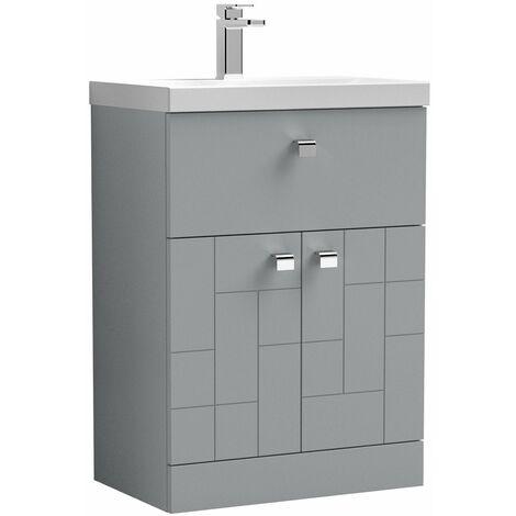 Vasari Cubix Grey 600mm Floorstanding Door Drawer Vanity Unit Thin Edge Basin