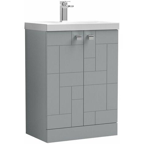 Vasari Cubix Grey 600mm Floorstanding Vanity Unit Thin Edge Basin Sink Bathroom