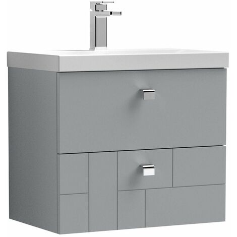 Vasari Cubix Grey 600mm Wall Hung Vanity Unit Thin Edge Basin Sink Bathroom