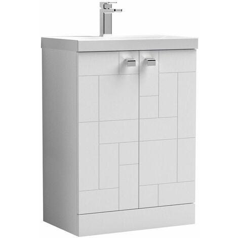Vasari Cubix White 600mm Floorstanding Vanity Unit Thin Edge Basin Sink Bathroom