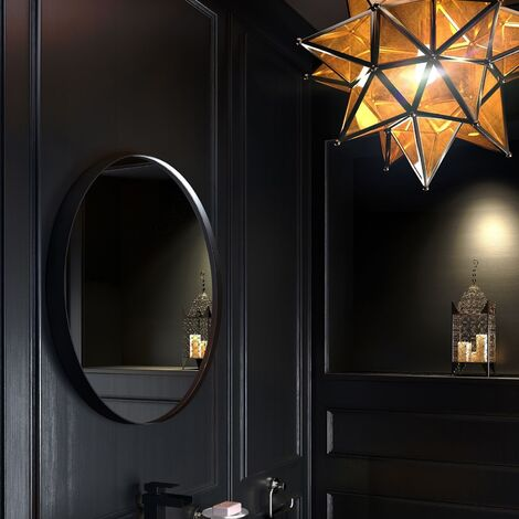 Vasari Large Modern Round Glass Mirror 75cm Black Frame Wall Mounted Decorative