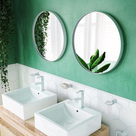Vasari Large Modern Round Glass Mirror 75cm White Frame Wall Mounted Decorative