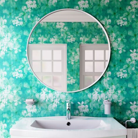 Vasari Large Modern Round Glass Mirror 80cm White Frame Wall Mounted Decorative
