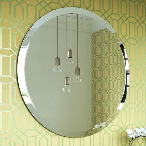 Vasari Modern Round Glass Mirror 60cm Bevelled Wall Mounted Decorative Vanity