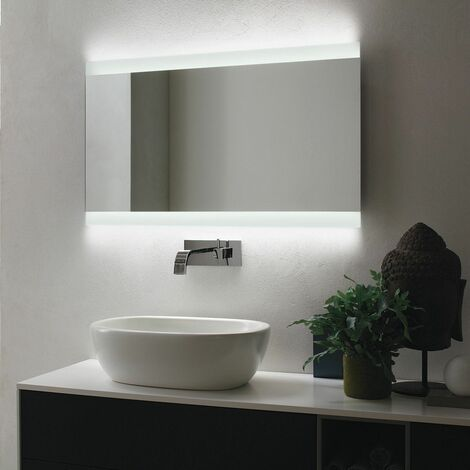 Vasari Rectangular LED Bathroom Mirror Demister 1200mm x 800mm Mains Stylish