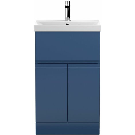 Vasari Silk Blue 500mm Floorstanding Vanity Unit Thin Edge Basin Sink Bathroom