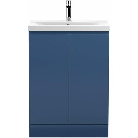 Vasari Silk Blue 600mm Floorstanding Vanity Unit Mid Edge Basin Sink Bathroom