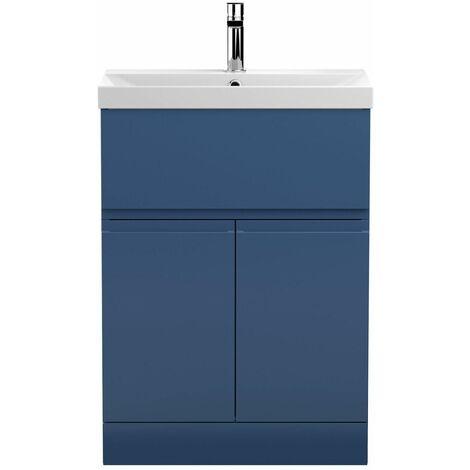 Vasari Silk Blue 600mm Floorstanding Vanity Unit Thin Edge Basin Sink Bathroom