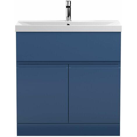 Vasari Silk Blue 800mm Floorstanding Vanity Unit Thin Edge Basin Sink Bathroom