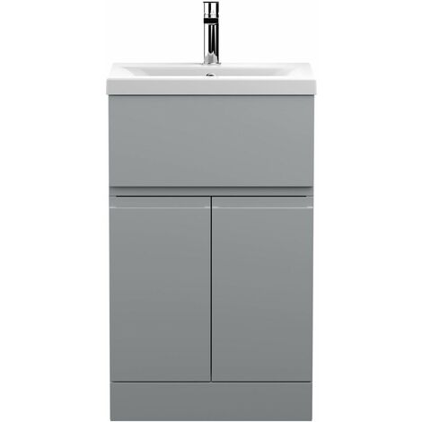 Vasari Silk Grey 500mm Floorstanding Vanity Unit Mid Edge Basin Sink Bathroom