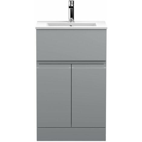 Vasari Silk Grey 500mm Floorstanding Vanity Unit Minimalist Basin Sink Bathroom