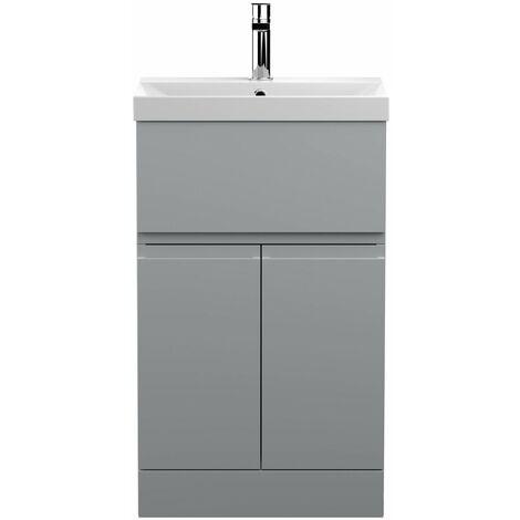 Vasari Silk Grey 500mm Floorstanding Vanity Unit Thin Edge Basin Sink Bathroom