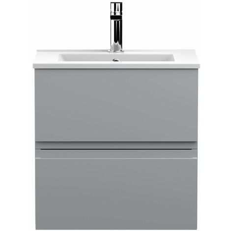 Vasari Silk Grey 500mm Wall Hung Vanity Unit Minimalist Basin Sink Bathroom