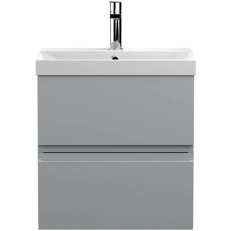 Vasari Silk Grey 500mm Wall Hung Vanity Unit Thin Edge Basin Sink Bathroom