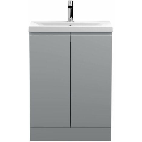 Vasari Silk Grey 600mm Floorstanding Vanity Unit Mid Edge Basin Sink Bathroom