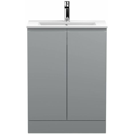 Vasari Silk Grey 600mm Floorstanding Vanity Unit Minimalist Basin Sink Bathroom