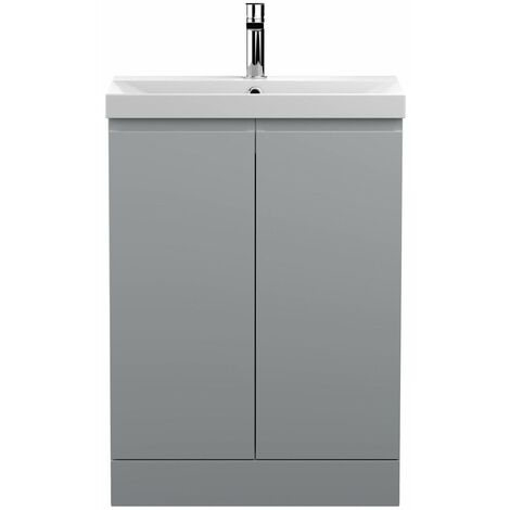 Vasari Silk Grey 600mm Floorstanding Vanity Unit Thin Edge Basin Sink Bathroom