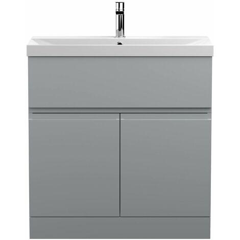 Vasari Silk Grey 800mm Floorstanding Vanity Unit Thin Edge Basin Sink Bathroom