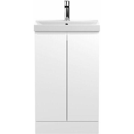 Vasari Silk White 500mm Floorstanding Vanity Unit Thin Edge Basin Sink Bathroom