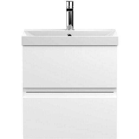 Vasari Silk White 500mm Wall Hung Vanity Unit Thin Edge Basin Sink Bathroom
