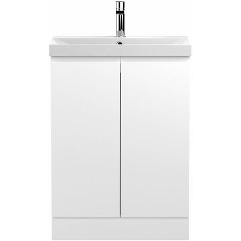 Vasari Silk White 600mm Floorstanding Vanity Unit Thin Edge Basin Sink Bathroom