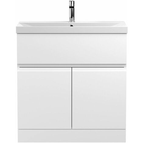 Vasari Silk White 800mm Floorstanding Vanity Unit Thin Edge Basin Sink Bathroom