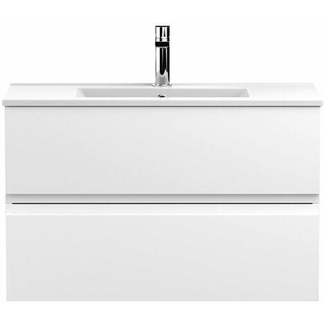 Vasari Silk White 800mm Wall Hung Vanity Unit Minimalist Basin Sink Bathroom