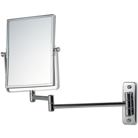 Vasari Square Chrome Wall Mounted 3x Magnifying Shaving Mirror 155mm x 205mm