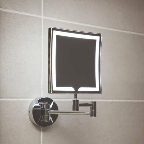 Vasari Square LED Wall Mounted Double Sided Shaving Mirror 200mm x 200mm Mains