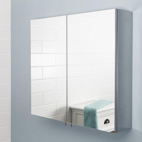 Vasari Stainless Steel Double Door Bathroom Mirror Storage Cabinet 550 x 600mm