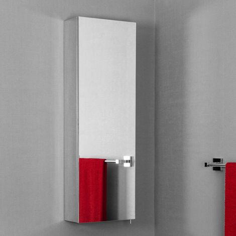 Vasari Tall Stainless Steel Mirror Bathroom Cabinet