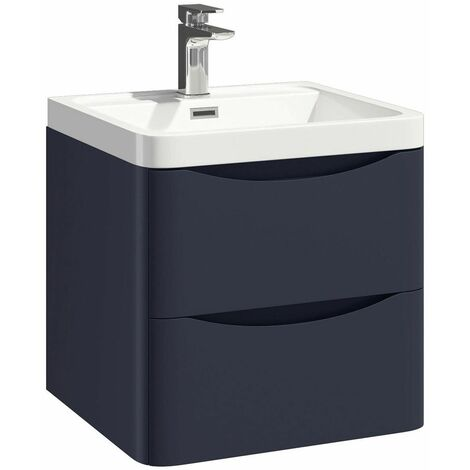 Vasari Wall Hung 500mm Bathroom Vanity Unit Basin Sink Storage Cabinet Blue