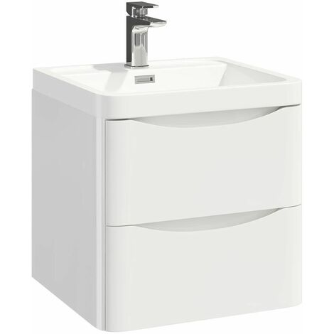 Vasari Wall Hung 500mm Bathroom Vanity Unit Basin Sink Storage Cabinet White