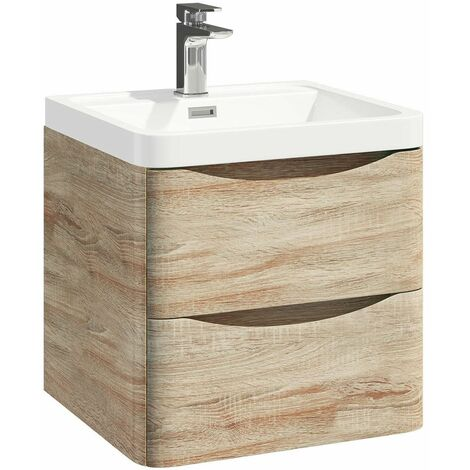 Vasari Wall Hung Vanity Unit 500mm Bathroom Basin Sink Tap Storage Cabinet Beige